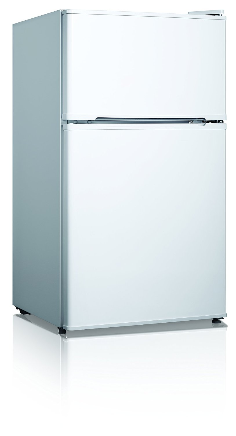 Midea WHD-127FW1 Compact Reversible Double Door Refrigerator and Freezer, 3.5 Cubic Feet, White