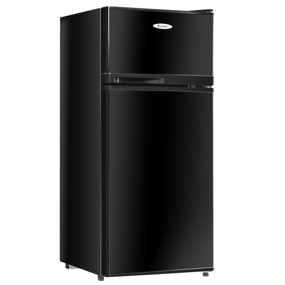 Costway 3.4 cu. ft. 2 Door Compact Mini Refrigerator Freezer Cooler (Black)