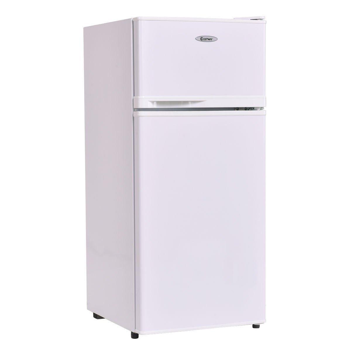 Costway 3.4 cu. ft. 2 Door Compact Mini Refrigerator Freezer Cooler,White