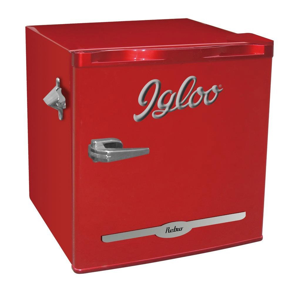 Igloo FR176-RED 1.6 cu. ft. Retro Bar Fridge with Side Bottle Opener, Red