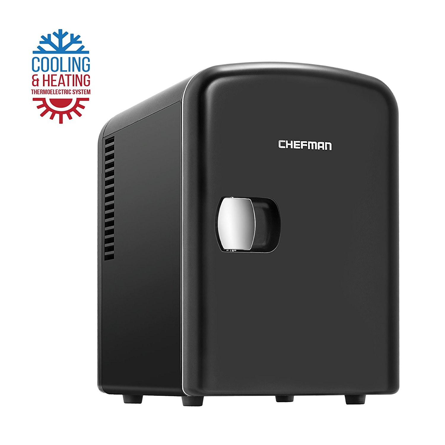 Chefman Portable Compact Personal Fridge Cools & Heats, 4 Liter Capacity Chills Six 12 oz Cans, 100% Freon-Free & Eco Friendly, Includes Plugs for Home Outlet & 12V Car Charger – Black