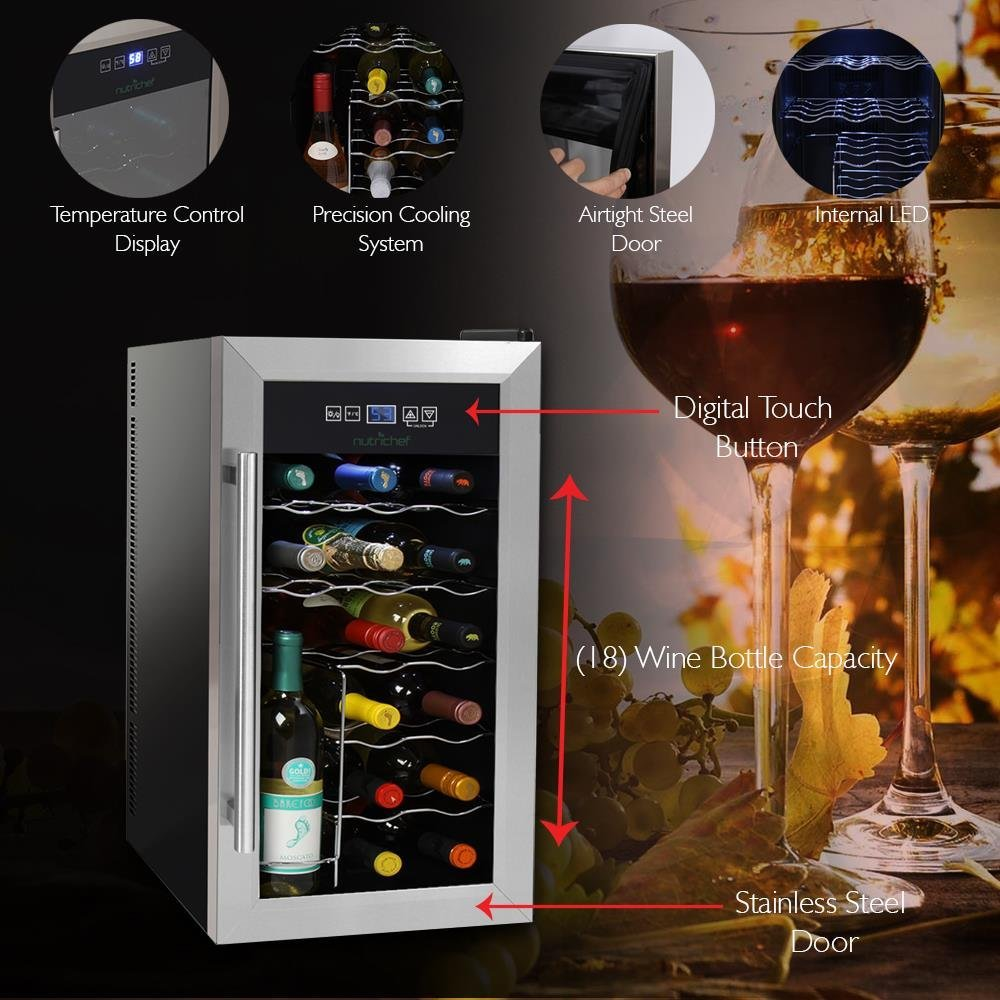 Nutrichef 18 Bottle Thermoelectric Wine Cooler Chiller