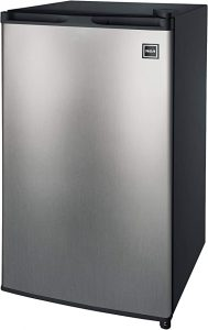 RCA RFR322-B 3.2 Cu Ft Single Door Mini Fridge with Freezer RFR322, Platinum, Stainless Steel