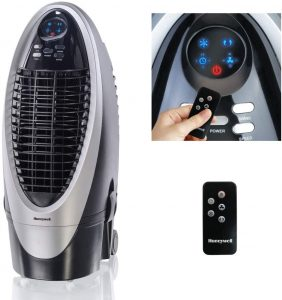 Honeywell 300-412CFM Portable Evaporative Cooler, Fan & Humidifier with Ice Compartment, Carbon Dust Filter & Remote, CS10XE
